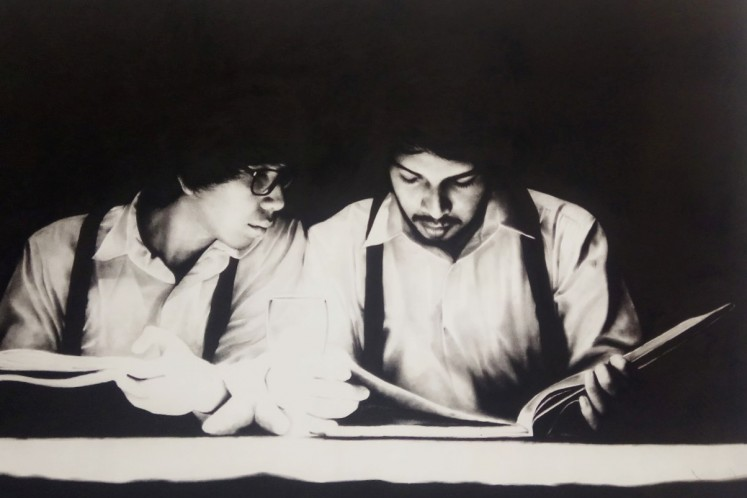 A Heaven's Tale by JA Pramuhendra, charcoal on canvas, displayed at Tumurun Private Museum