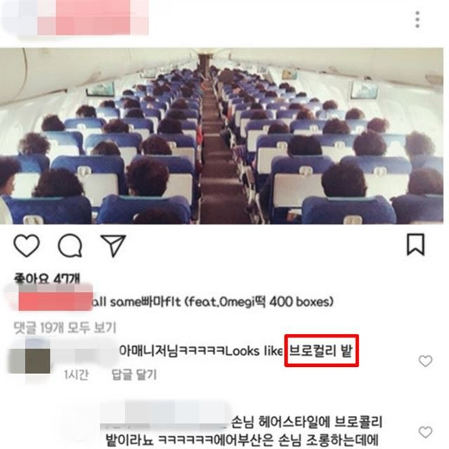 A screen capture of an Air Busan flight attendant's Instagram.
