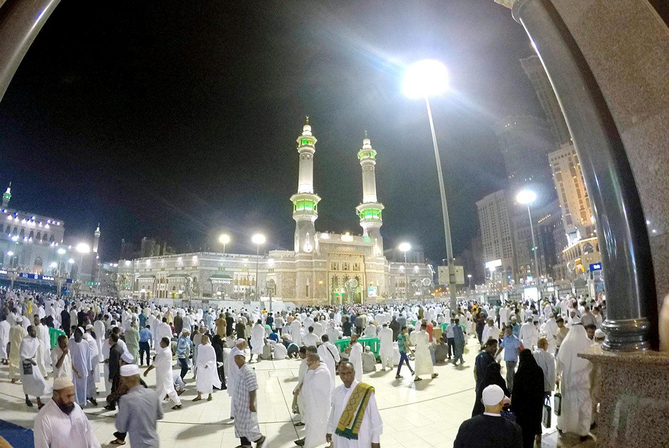 Night prayers: People gather to pray at Al-Haram Mosque in Mecca.