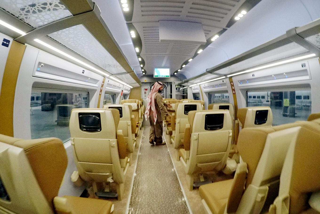 Comfort and safety: The interior of the Haramain train car provides comfort for passengers on the two-hour journey between Mecca and Medina. The Haramain route retraces the journey Prophet Muhammad took when he made the perilous journey from Mecca to Medina in the 7th century.