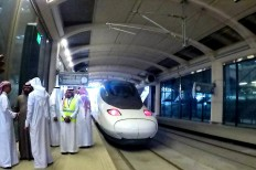 All aboard: Saudi officials inspect the bullet train at King Abdullah Economic City Station, one of five stops of the Haramain high-speed rail service between Mecca and Medina. JP/Endy M Bayuni