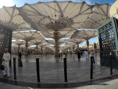 In the shade: Automatically retractable umbrellas provide relief for pilgrims from the scorching sun at Al-Haram Mosque in Medina. JP/Endy M Bayuni