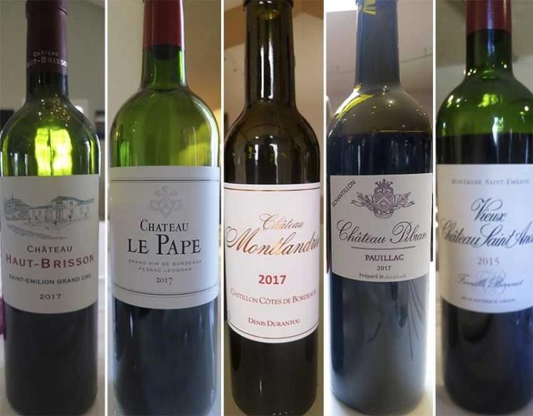From left: Ch'teau Haut-Brisson, Ch'teau Le Pape, Ch'teau Montlandrie, Ch'teau Pibran, Vieux Ch'teau Saint André