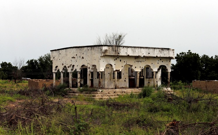A bullet riddled mosque is pictured along Konduga-Bama road in Bama, Borno, Nigeria, August 31, 2016.