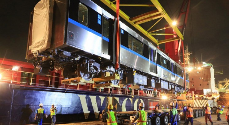 MRT trains arrive at Tanjung Priok Port