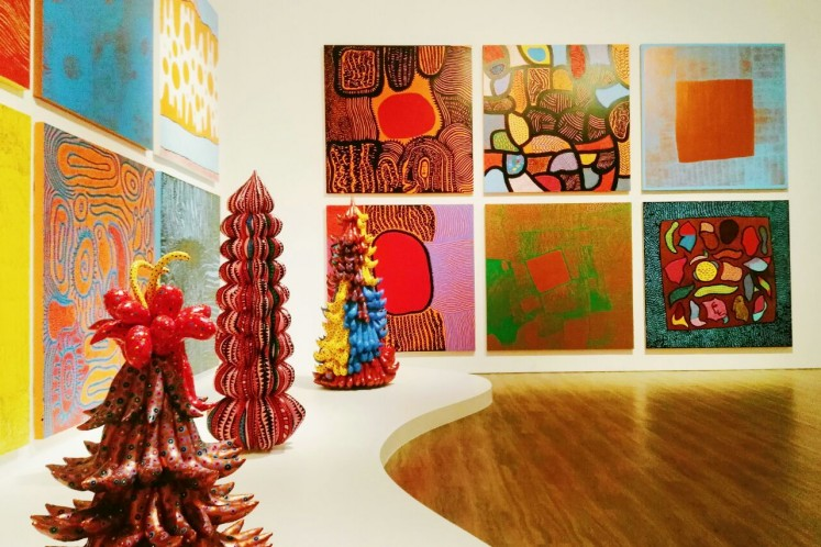 My Eternal Soul is by far the largest painting series Yayoi Kusama has embarked upon, where shecombines figurative and abstract forms.