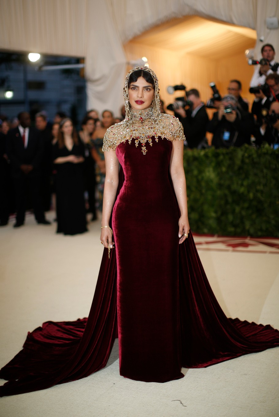 Actress Priyanka Chopra arrives at the Metropolitan Museum of Art Costume Institute Gala (Met Gala) to celebrate the opening of 'Heavenly Bodies: Fashion and the Catholic Imagination' in the Manhattan borough of New York, U.S., May 7, 2018.