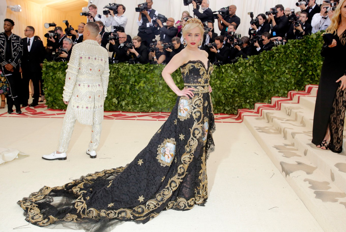 Actress Emilia Clarke arrives at the Metropolitan Museum of Art Costume Institute Gala (Met Gala) to celebrate the opening of 'Heavenly Bodies: Fashion and the Catholic Imagination' in the Manhattan borough of New York, U.S., May 7, 2018.