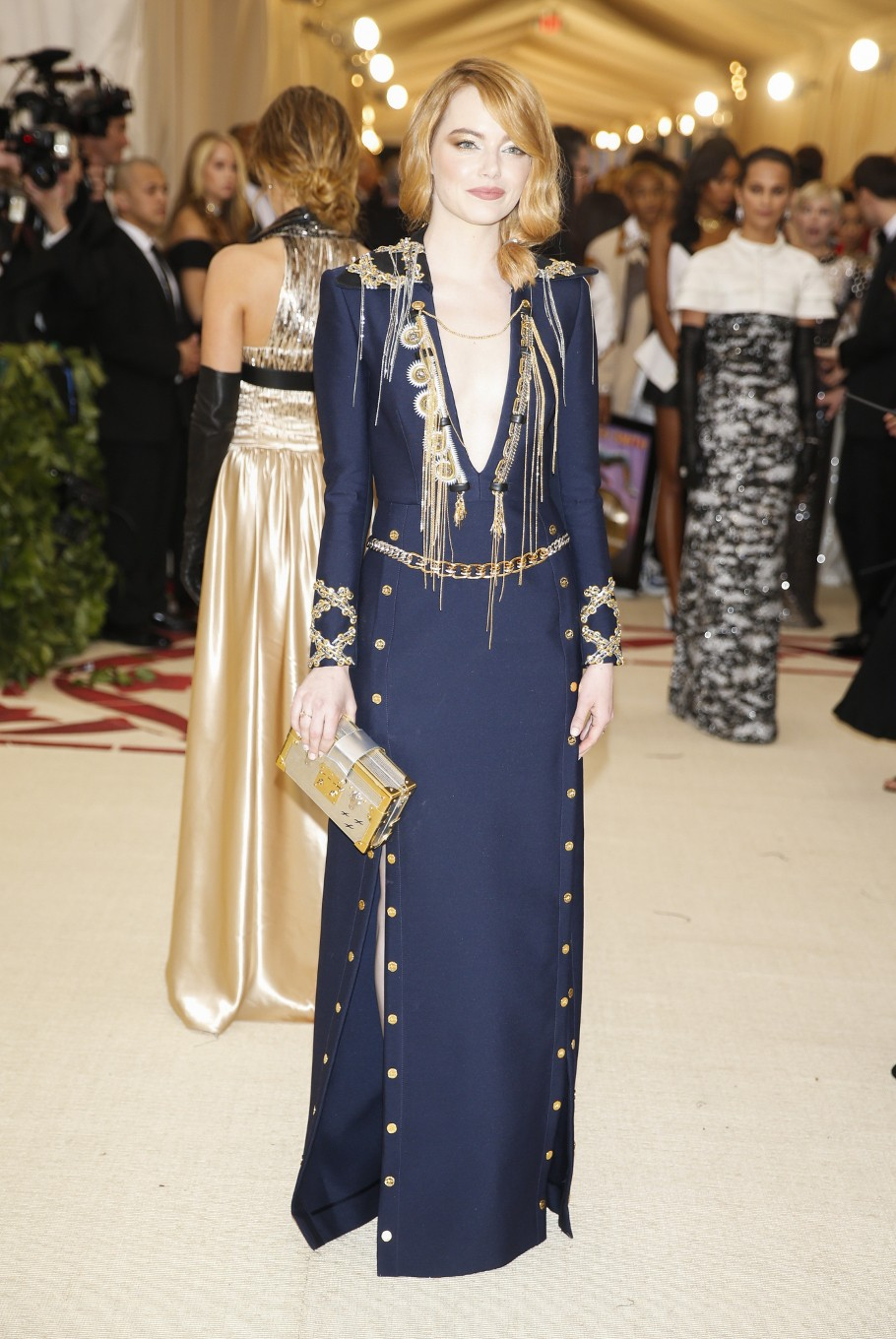 Actor Emma Stone arrives at the Metropolitan Museum of Art Costume Institute Gala (Met Gala) to celebrate the opening of 'Heavenly Bodies: Fashion and the Catholic Imagination' in the Manhattan borough of New York, U.S., May 7, 2018.