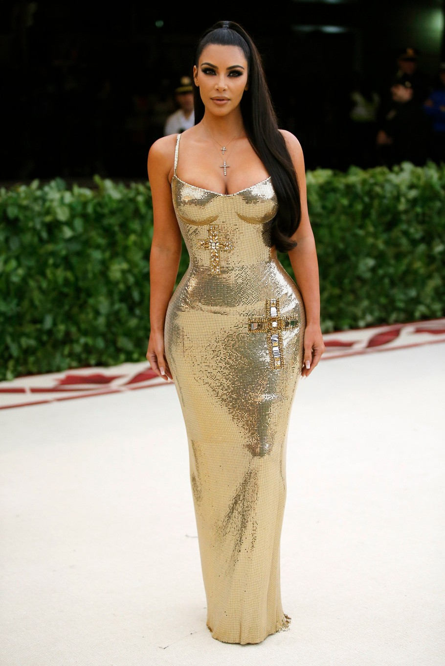 Kim Kardashian arrives at the Metropolitan Museum of Art Costume Institute Gala (Met Gala) to celebrate the opening of 'Heavenly Bodies: Fashion and the Catholic Imagination' in the Manhattan borough of New York, U.S., May 7, 2018.