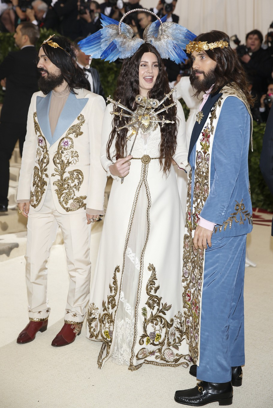 Alessandro Michele, Lana Del Rey and Jared Leto arrive at the Metropolitan Museum of Art Costume Institute Gala (Met Gala) to celebrate the opening of 'Heavenly Bodies: Fashion and the Catholic Imagination' in the Manhattan borough of New York, U.S., May 7, 2018.