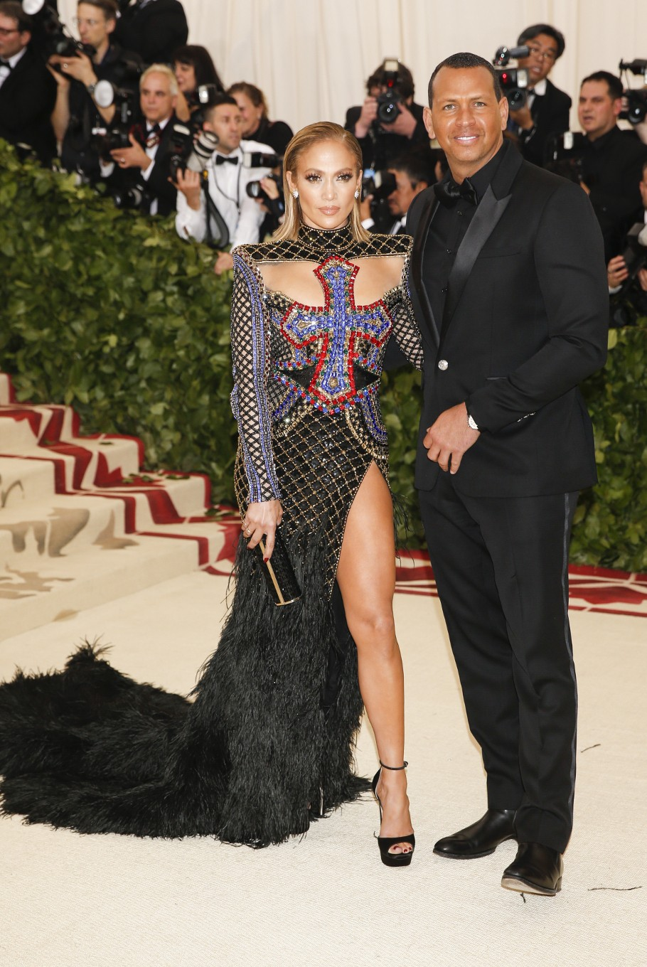 Singer Jennifer Lopez and Alex Rodriguez arrive at the Metropolitan Museum of Art Costume Institute Gala (Met Gala) to celebrate the opening of 'Heavenly Bodies: Fashion and the Catholic Imagination' in the Manhattan borough of New York, U.S., May 7, 2018.