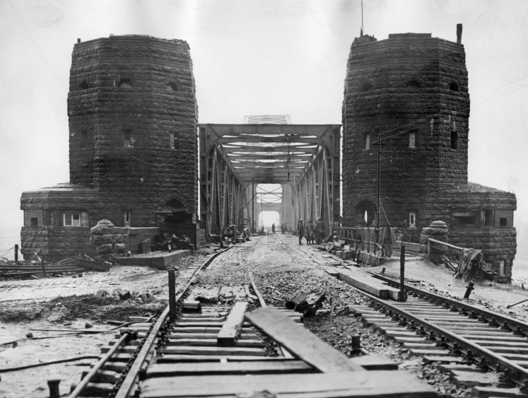 The railway bridge over the Rhine at Remagen is seen after it was captured intact by the 9th US Armoued Division, 1rst Army on March 10, 1945 by the end of World War II.