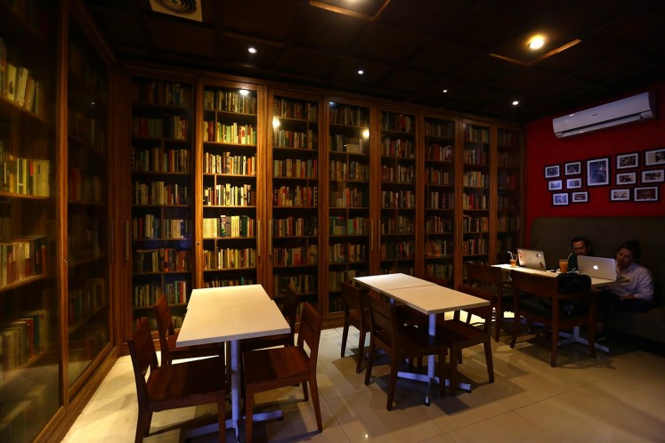 The Reading Room's library-themed space.