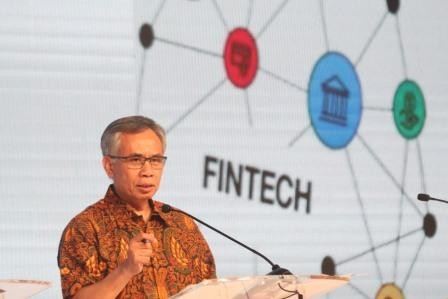 Making a point: Financial Services Authority (OJK) chairman Wimboh Santoso speaks at the first Next Indonesian Unicorn (NextICorn) Summit in Nusa Dua, Bali, on Thursday.