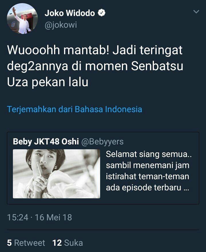 The tweet has been deleted from Jokowi's account.