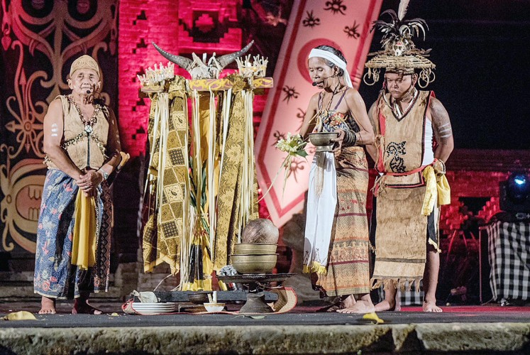 Blessing: Elders of the Dayak Maanyan tribe perform a ritual at the opening of the festival.