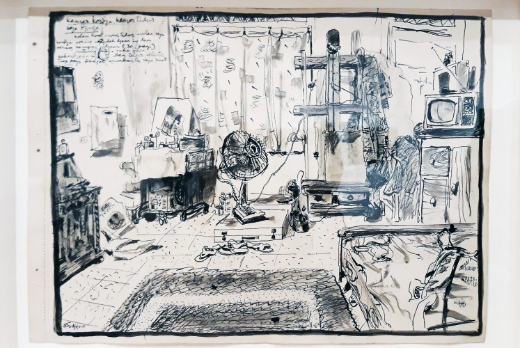 "Up close: In this drawing, Sudjojono writes ""his workroom is also his bedroom""."