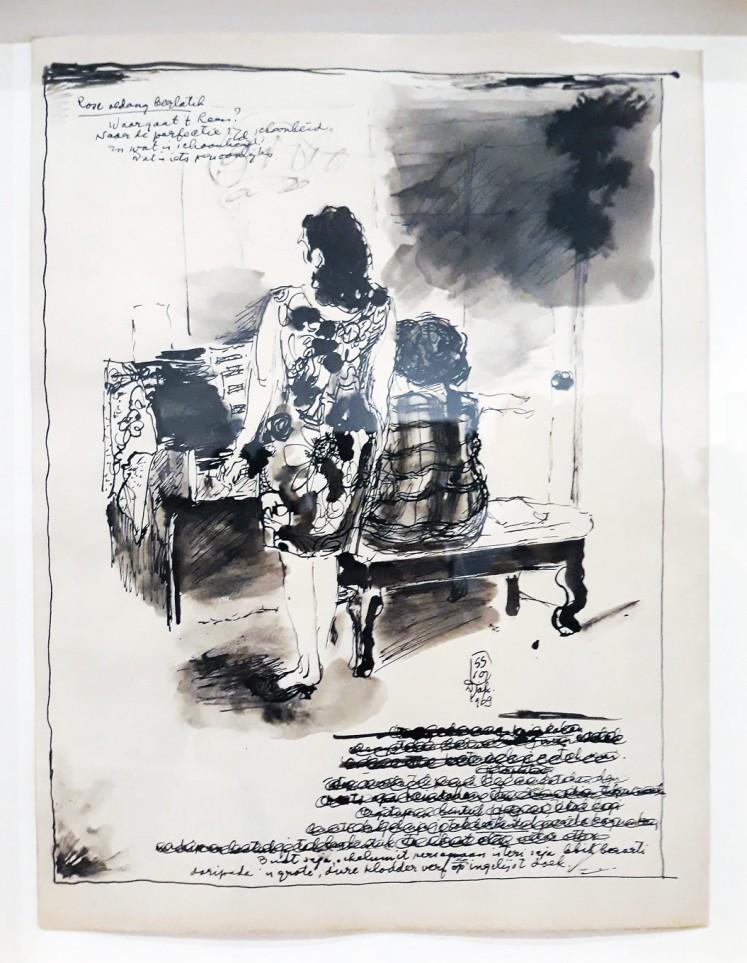 Journal: One of Sudjojono's drawings shows his wife, renowned classical mezzo-soprano singer Rose Pandanwangi, practicing.