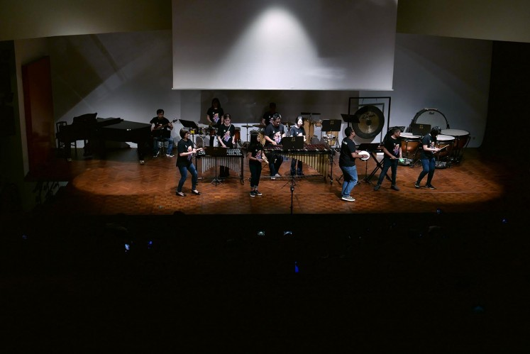 Amadeus Percussion Ensemble (AMPERE) from Amadeus Indonesia Music Institute perform at 'We Got Rhythm' brass, woodwind and percussion concert at Goethe Haus, Central Jakarta on Thursday, May 17, 2018.