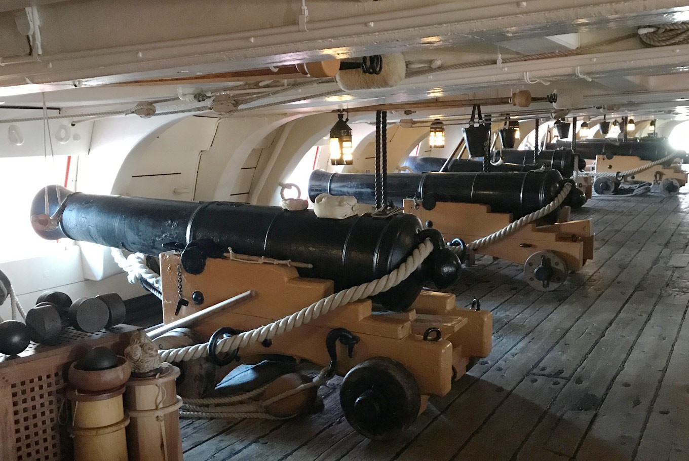 Cannons on the HMS Victory