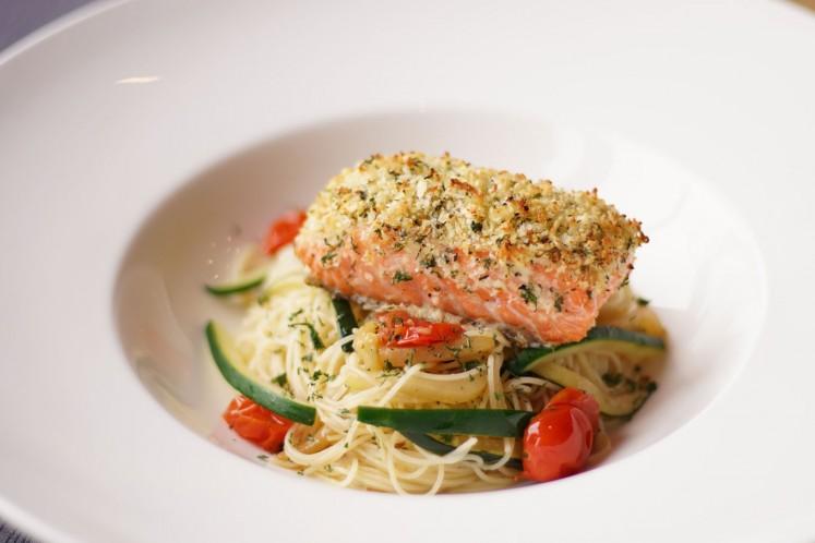 Ristorante da Valentino parmesan gremolata salmon with capellini zucchine.