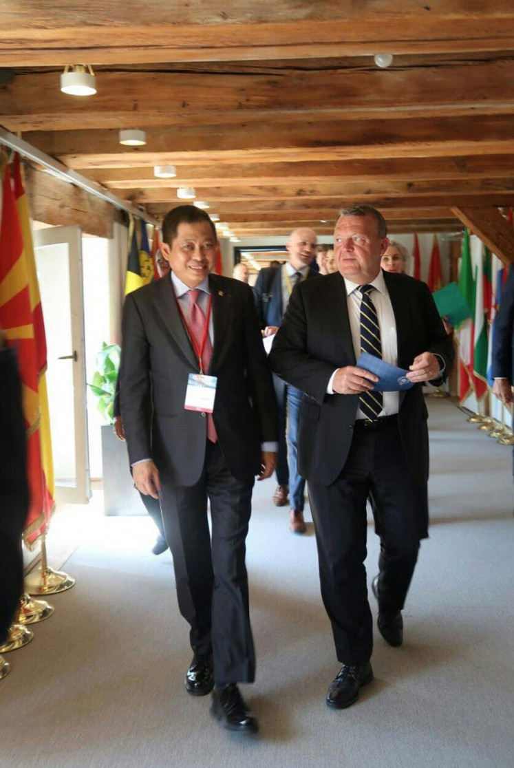 Energy and Mineral Resources Minister Ignasius Jonan after a meeting with Danish Prime Minister Lars Lokke Rasmussen during the Clean Energy Ministerial, Copenhagen, May 24 2018.