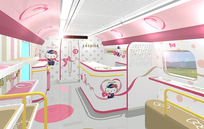 The interior of Hello Kitty shinkansen, that will debut in Japan on June 30.