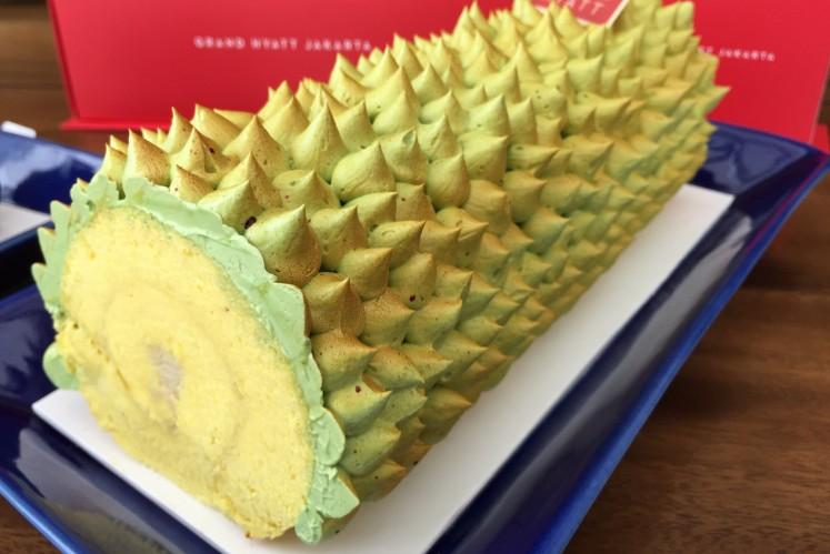 Durian roll cake from Grand Hyatt Jakarta hotel.