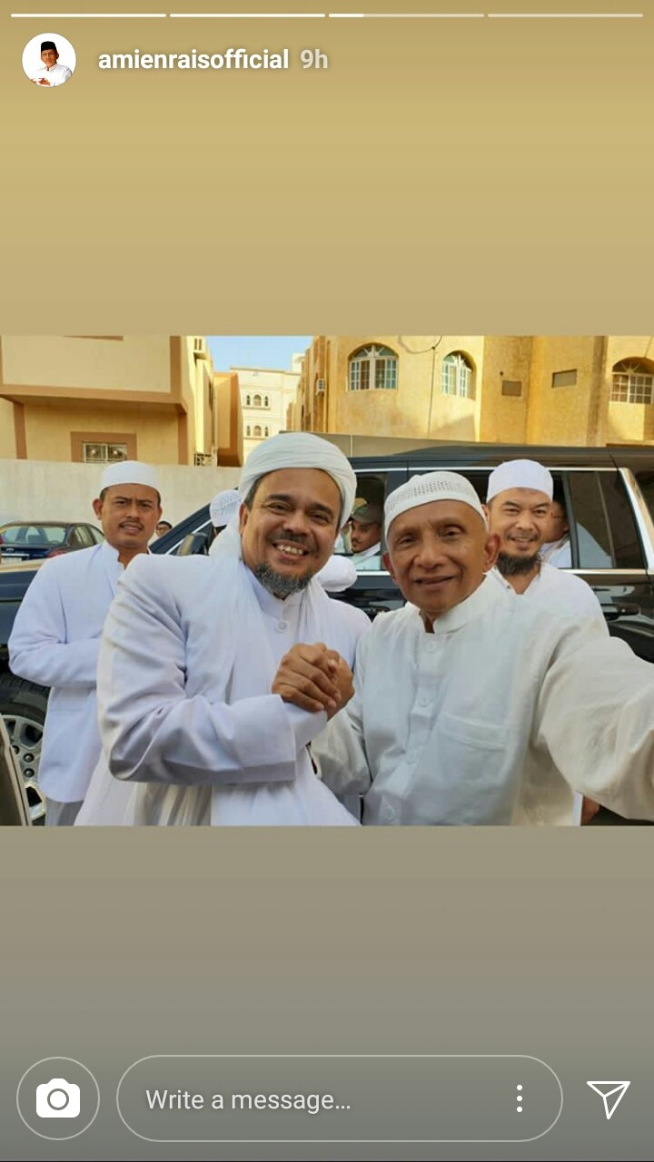A screen grab from Amien Rais' Instagram story shows him shaking hands with Rizieq Shihab on Saturday.