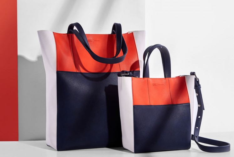 The Edie tote bag comes in two sizes and six colors, one of them being orange.
