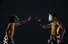 Two dancers perform a part of the Bali Jawi repertoire. JP/Tarko Sudiarno