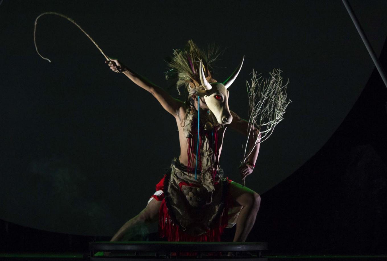 A male dancer wears the costume of a daemon in the Bali Jawi dance. JP/Tarko Sudiarno