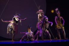 Male performers play daemons in the Bali Jawi dance. JP/Tarko Sudiarno