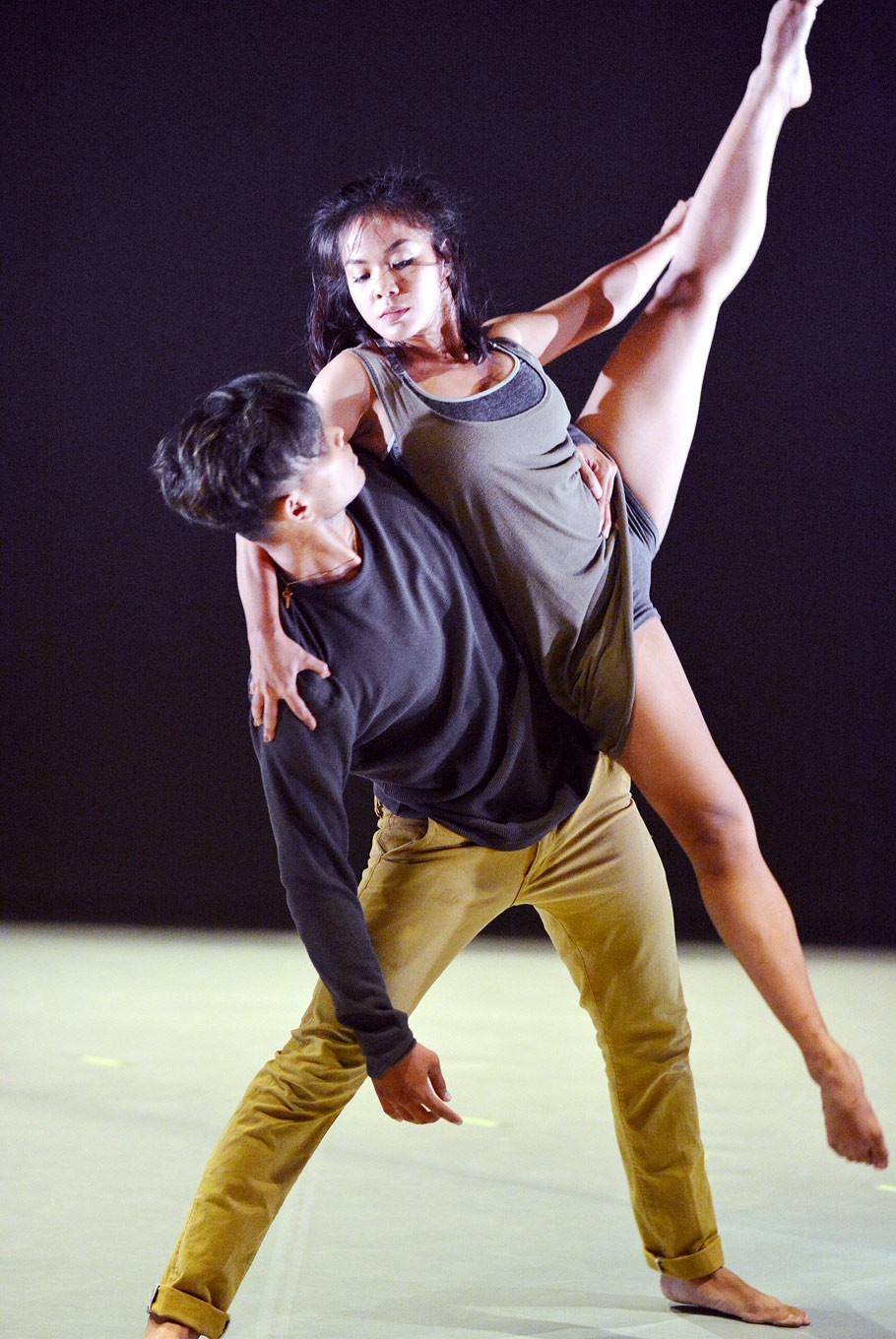 A touch of ballet: Two dancers perform together on stage.