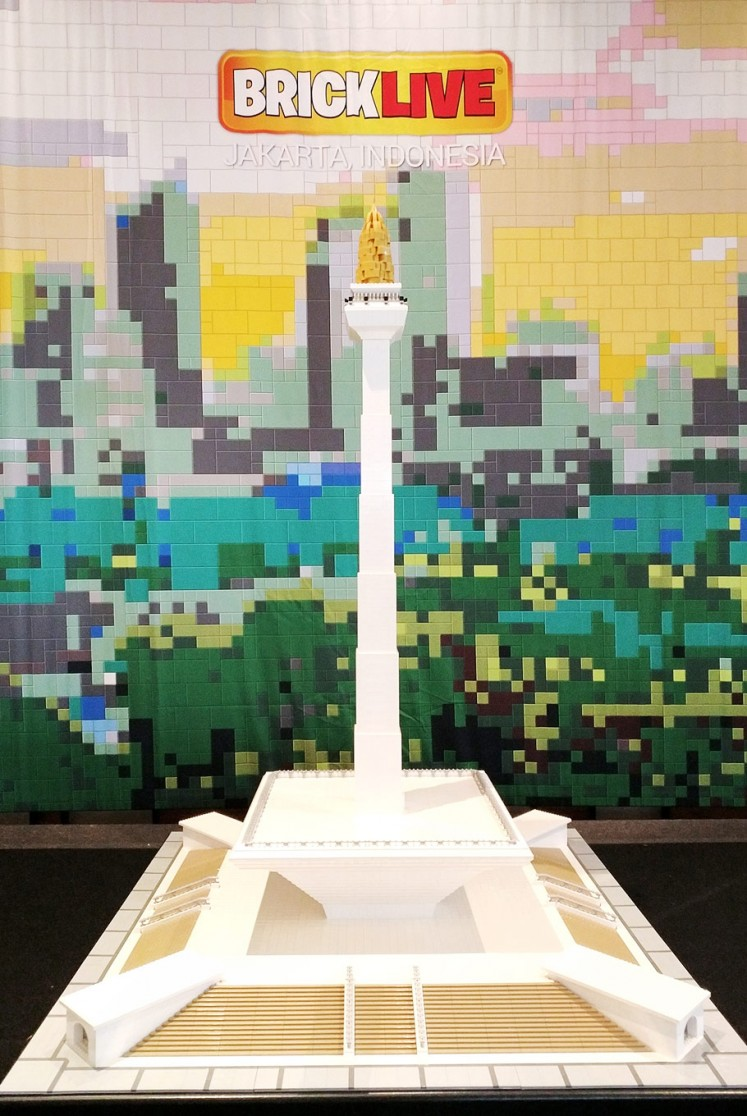 City icon: A LEGO-constructed miniature of the National Monument (Monas) is displayed during BRICKLIVE at Pantai Indah Kapuk, North Jakarta, on Thursday. The first-ever BRICKLIVE event in the city will run until June 17.