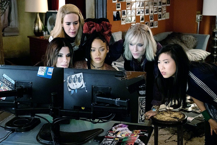 Thick as thieves: The band of criminals in Ocean's 8 includes (from left) Debbie Ocean (Sandra Bullock), Tammy (Sarah Paulson), Nine Ball (Rihanna), Lou (Cate Blanchett) and Constance (Awkwafina).