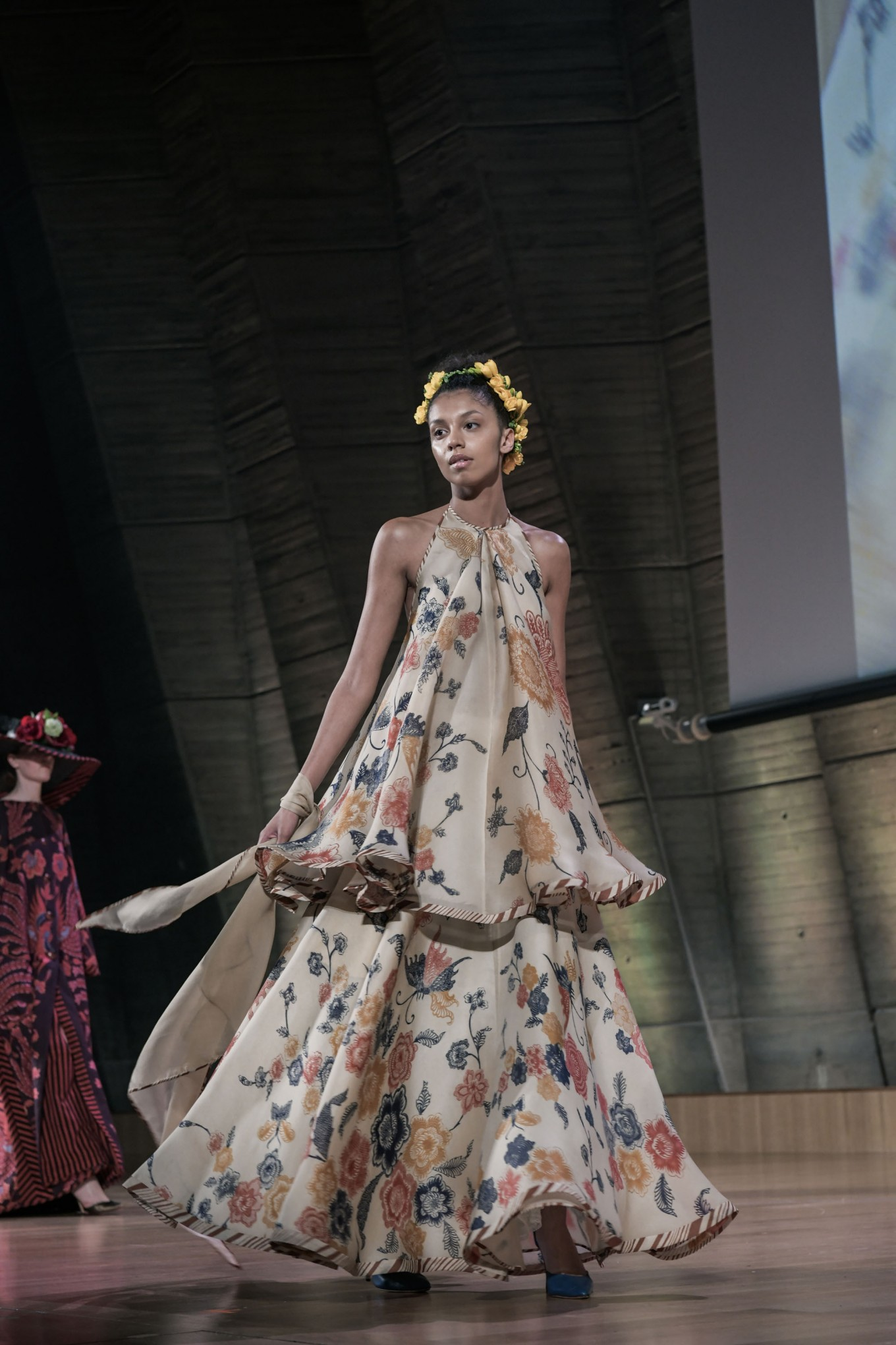Edward Hutabarat features a feminine and frilly dress decorated with a subtle batik print.