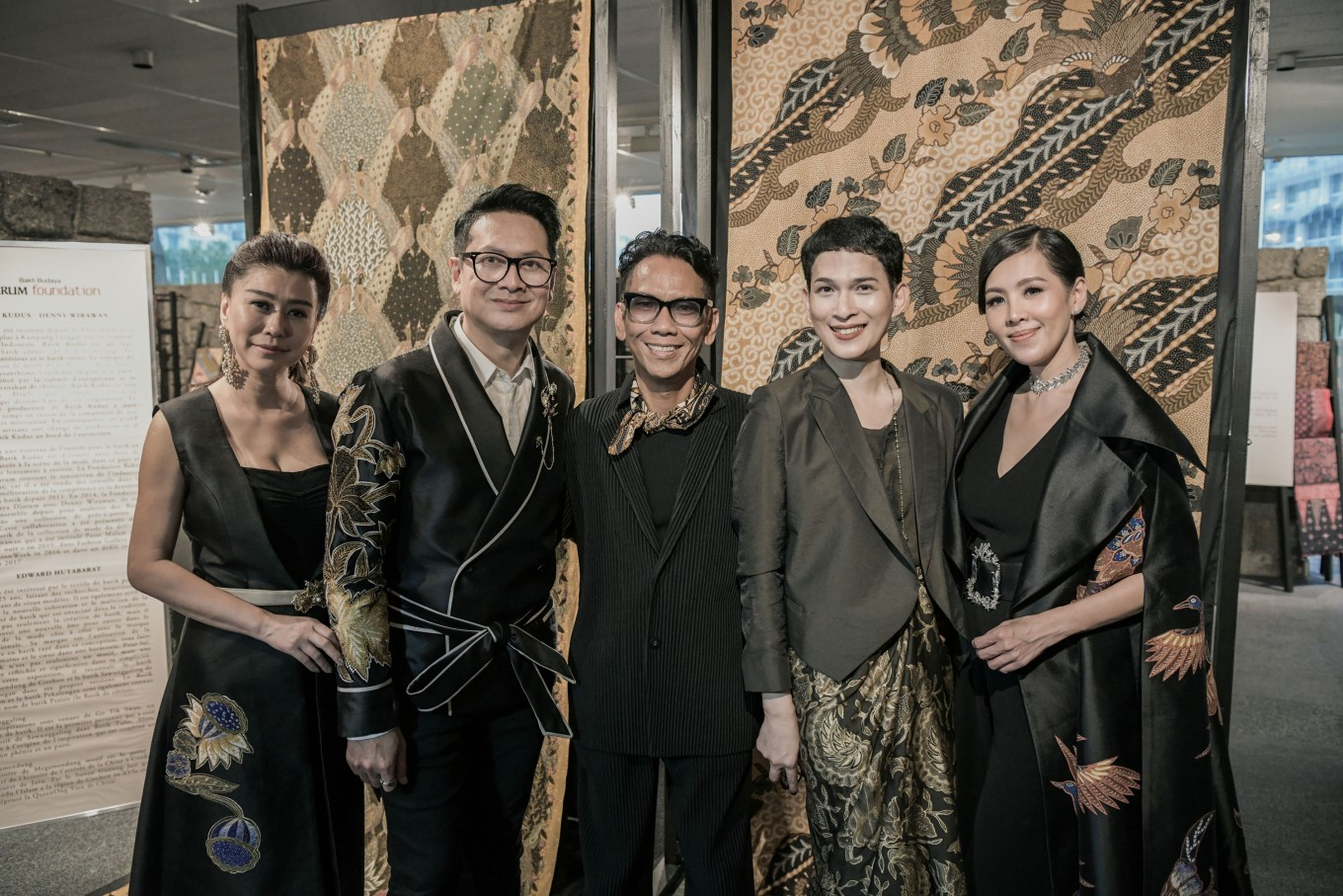 "(Left to right) Jewelry designer Eliana Putri Antonio, Denny Wirawan, Edward Hutabarat, Oscar Lawalata and Program Director at Bakti Budaya Djarum Foundation Renitasari Adrian attend the ""Batik For The World"" exhibition launch at the UNESCO headquarters in Paris, France."