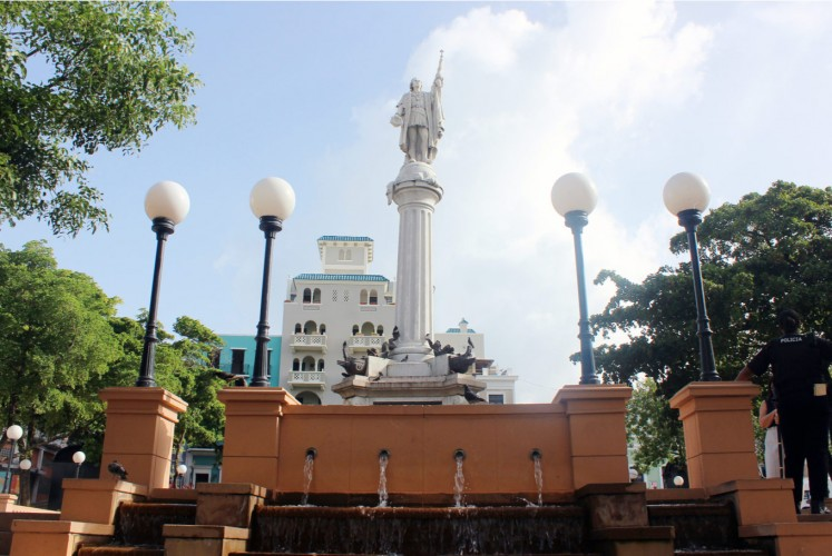 The Plaza Colon has a 40-foot pillar with a statue of Columbus on top.