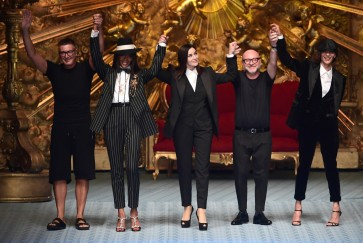 Naomi Campbell and Monica Bellucci light up Milan fashion week