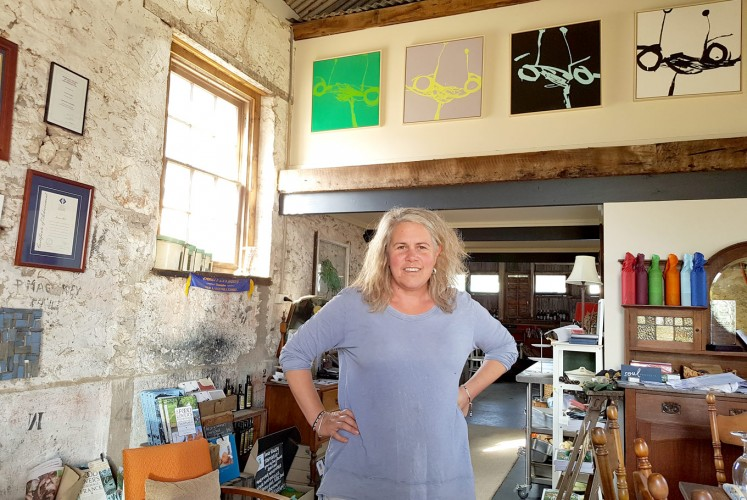 Making a difference: Susanne Bell poses inside Glen Roy Shearing Shed, which she has transformed into a boutique winery.