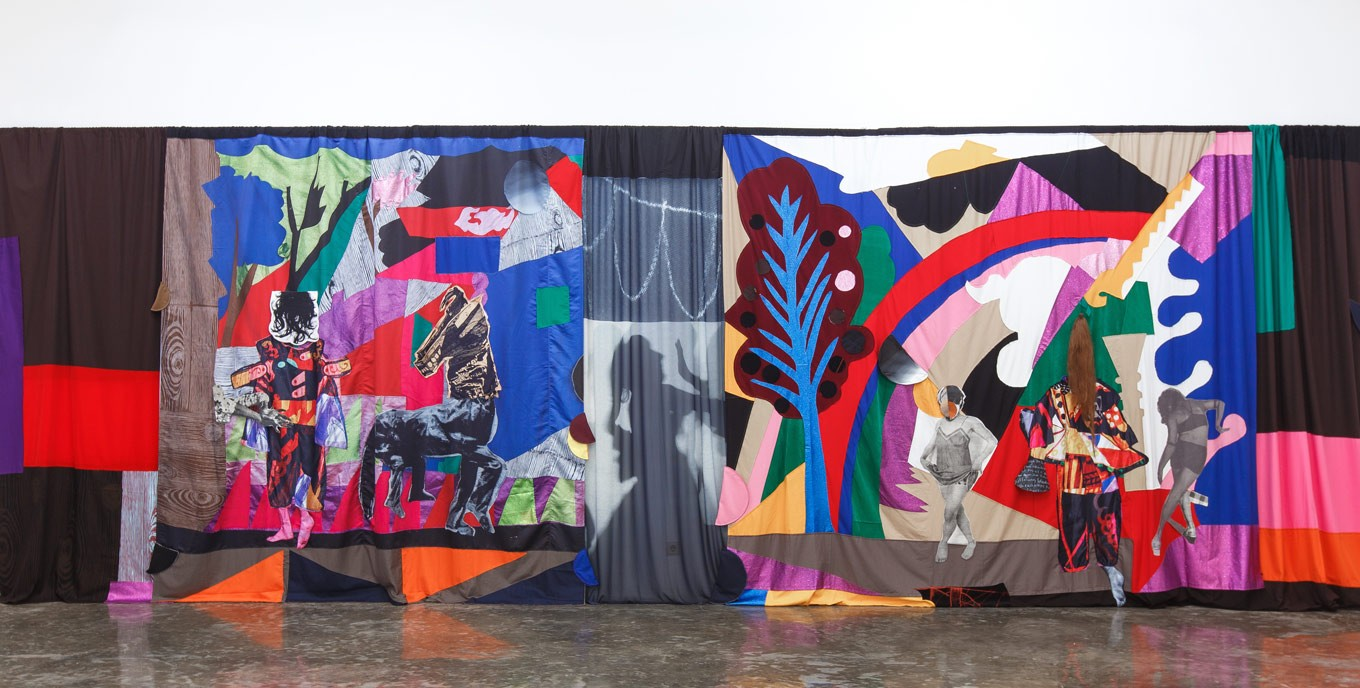 Bold colors dominate 'Chout Ballet Curtain', on display as part of Sally Smart's 'The Choreography of Cutting' exhibit at the Tony Raka Art Gallery in Ubud, Bali.