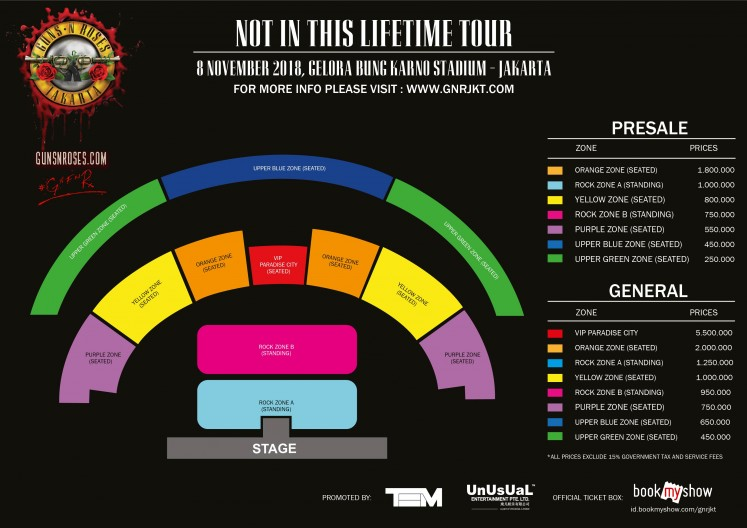 Presale Tickets For Guns N Roses Jakarta Concert On Sale