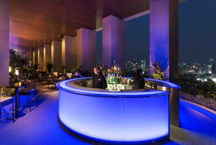 Open from 5 p.m. to 1 a.m. daily, K22 Bar has sofa area, round tables and stand-by LED lighted bar island.