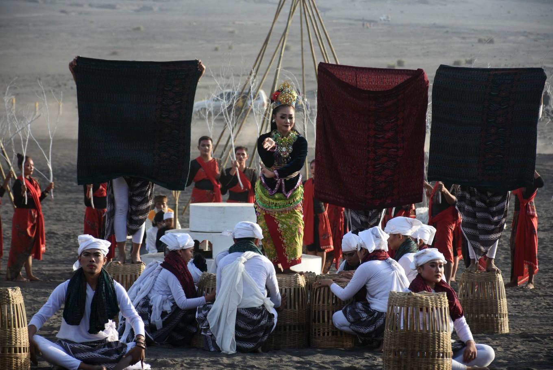 A dancer performs at the Yadnya Kasada ritual on Mount Bromo, East Java