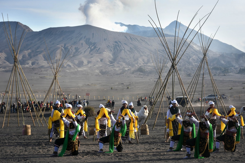 Dance performances are staged during the Yadnya Kasada ritual on Mount Bromo, East Java.