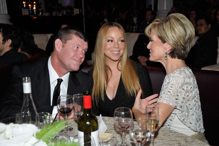 James Packer, Mariah Carey and Member of the Australian House of Representatives Julie Bishop attend the G'Day USA 2016 Black Tie Gala at Vibiana on January 28, 2016 in Los Angeles, California.