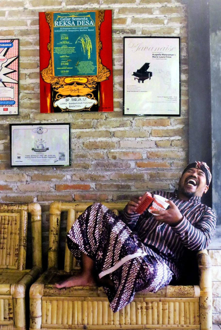 Out loud: Pardiman Djoyonegoro, an artist developing gamelan into a vocal performance, shows his humorous side in Adhi's portrait photograph.