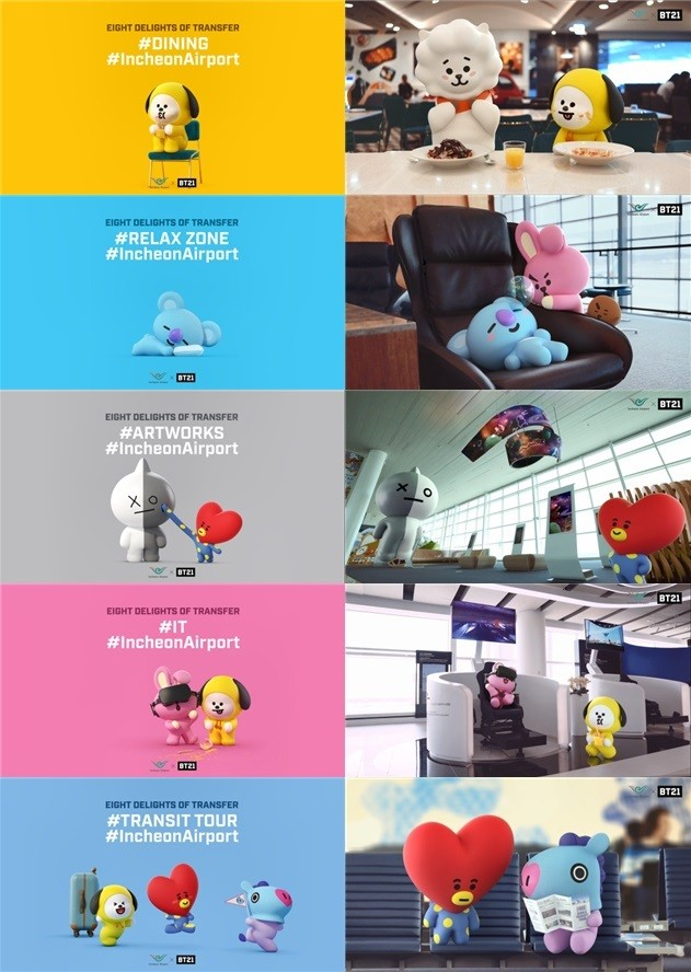 BTS-designed BT21 characters to promote Incheon Airport.
